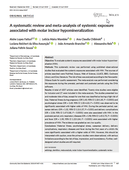 A systematic review and meta-analysis of systemic exposure associated with molar incisor hypomineralization.