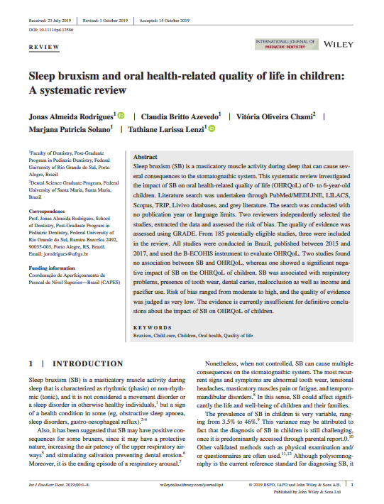 Sleep Bruxism and oral health-related Quality of life in Children: A Systematic Review.