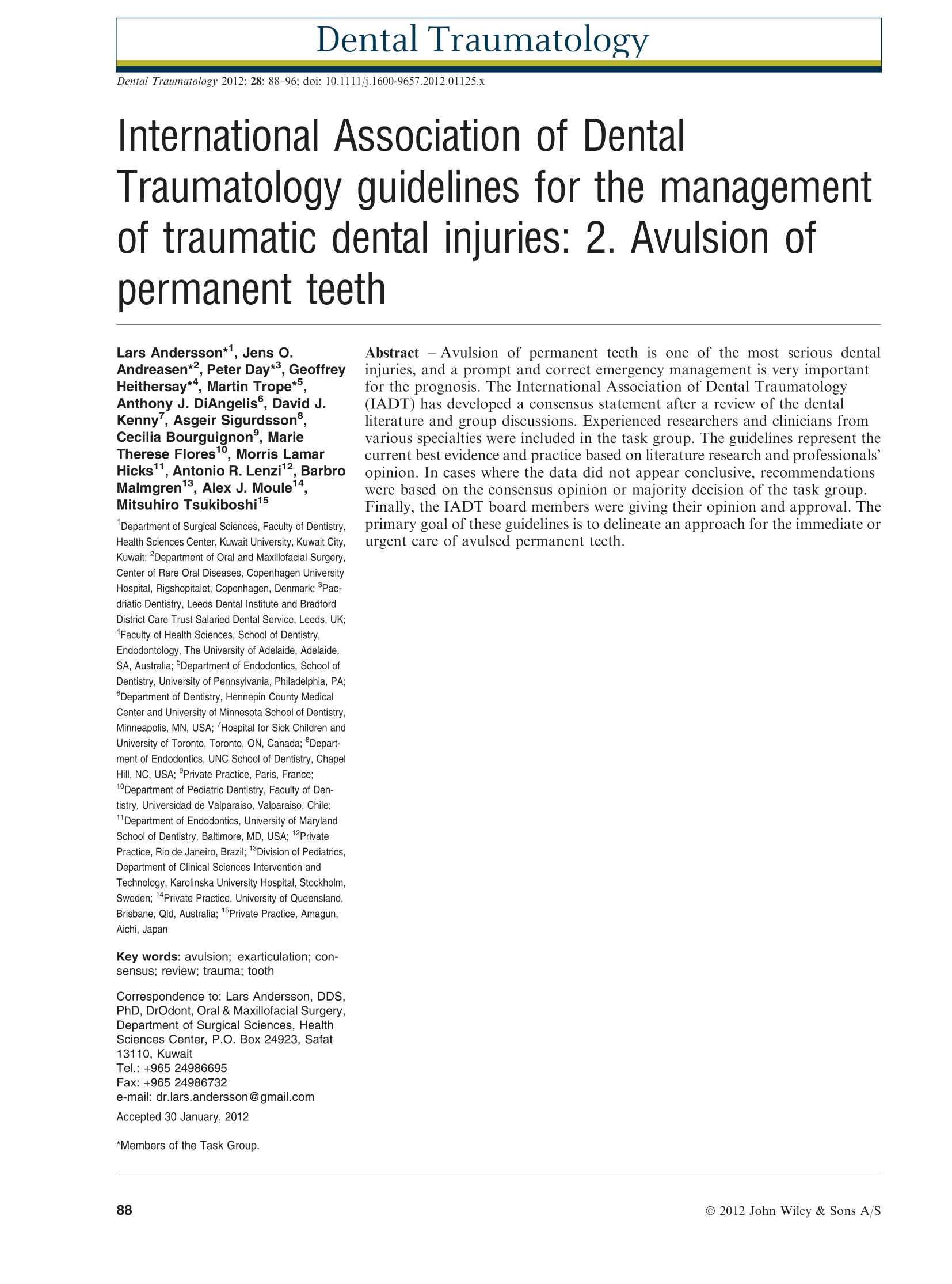 International Association of Dental Traumatology guidelines for the Management of Traumatic Dental Injuries: 2. Avulsion of Permanent Teeth.